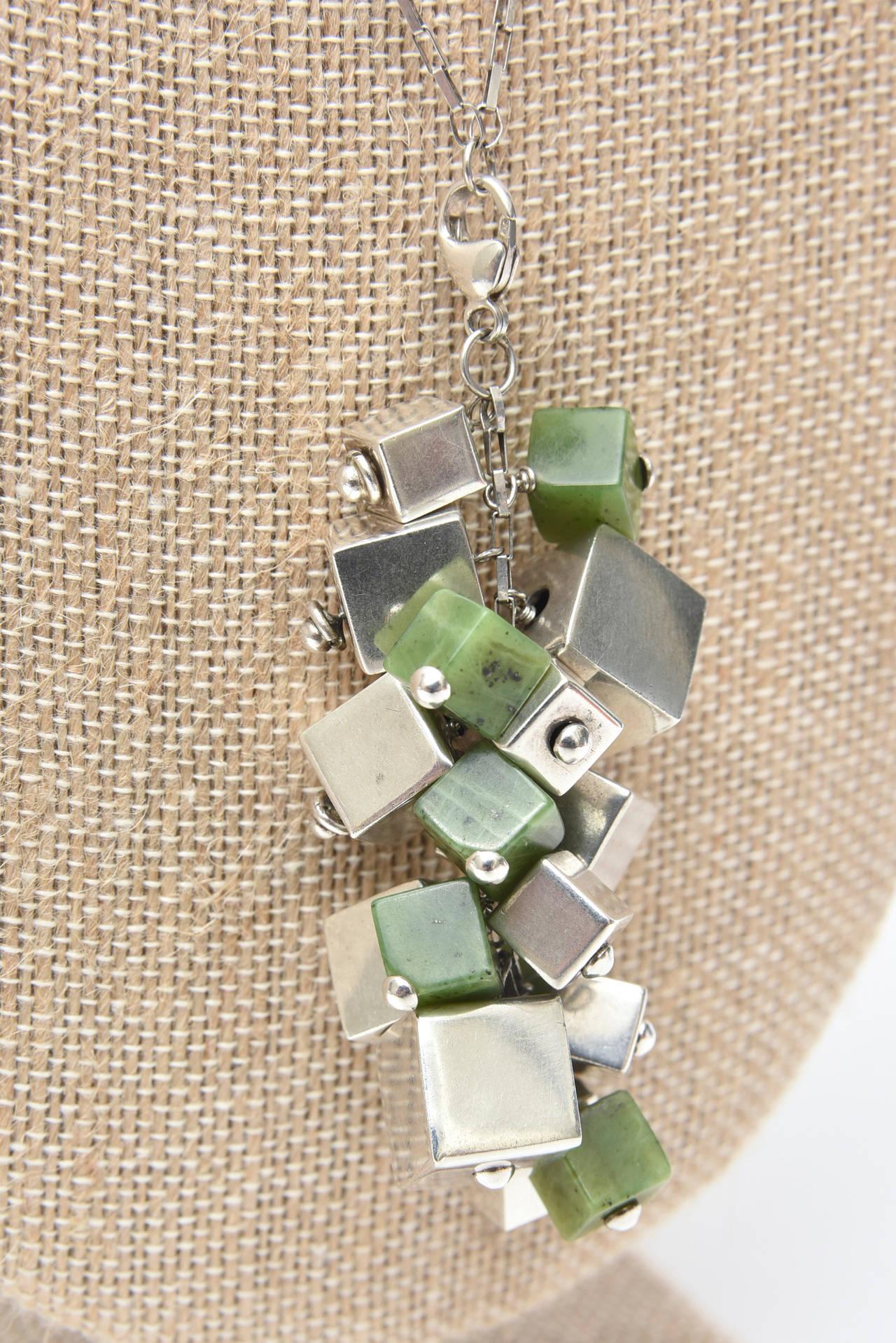 Jade & Sterling Silver Dangle Sculptural  Cluster Necklace Signed For Sale 3