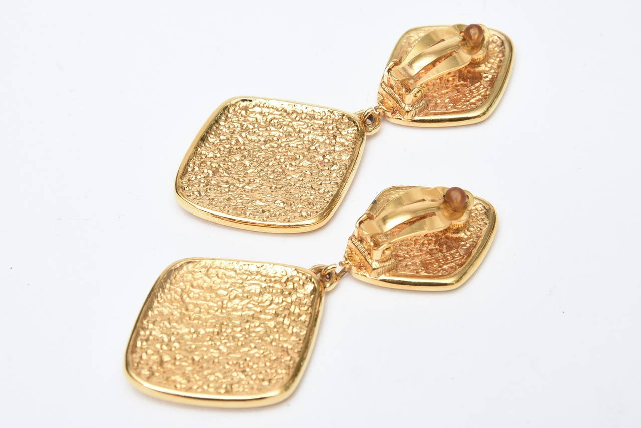 Chanel Pair of Marked Double Criss Cross Hanging Clip On Earrings For Sale 1
