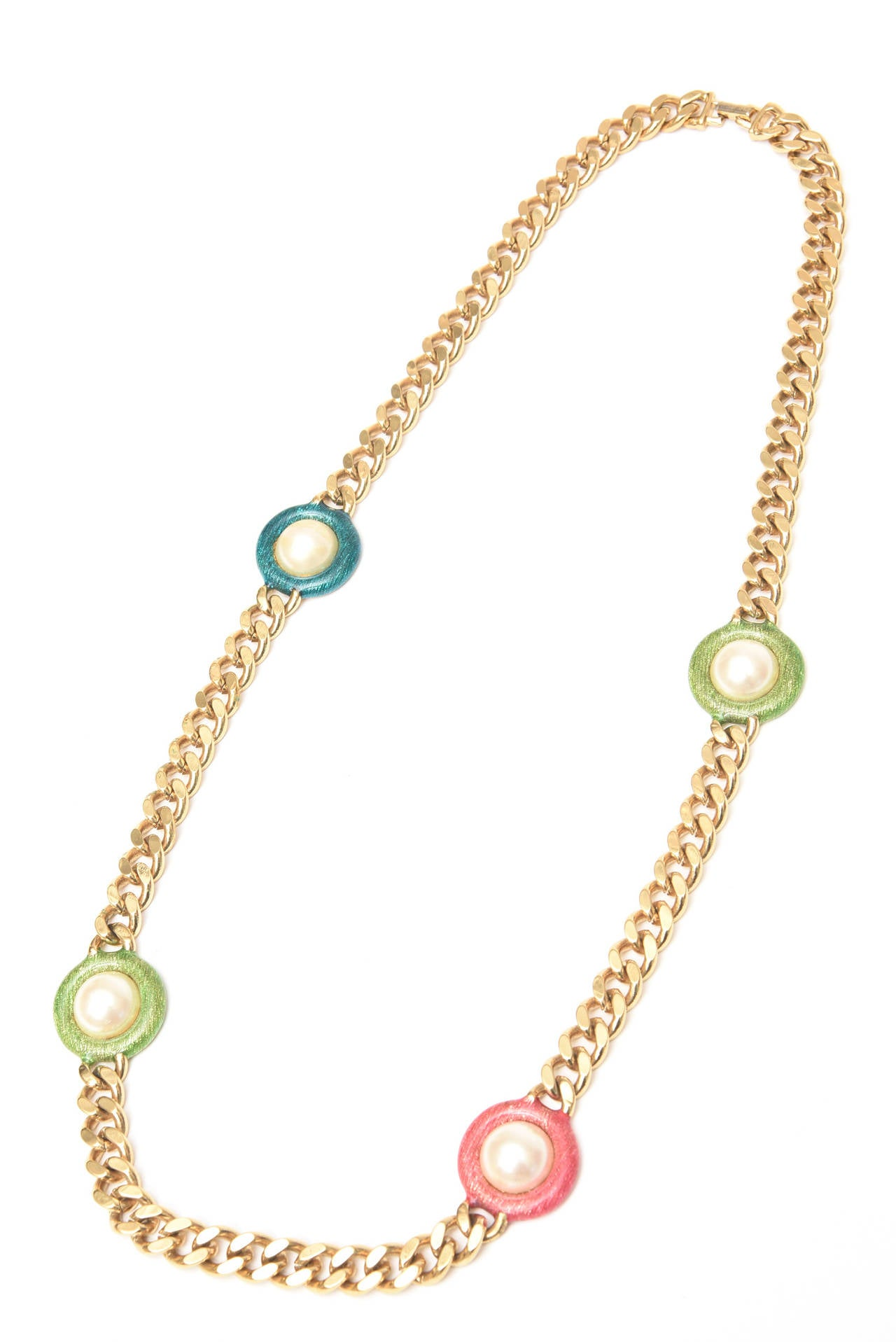Modern Guy Laroche Gold,Tone Chain Link Strand Necklace with Enamel and Faux Pearl SALE For Sale