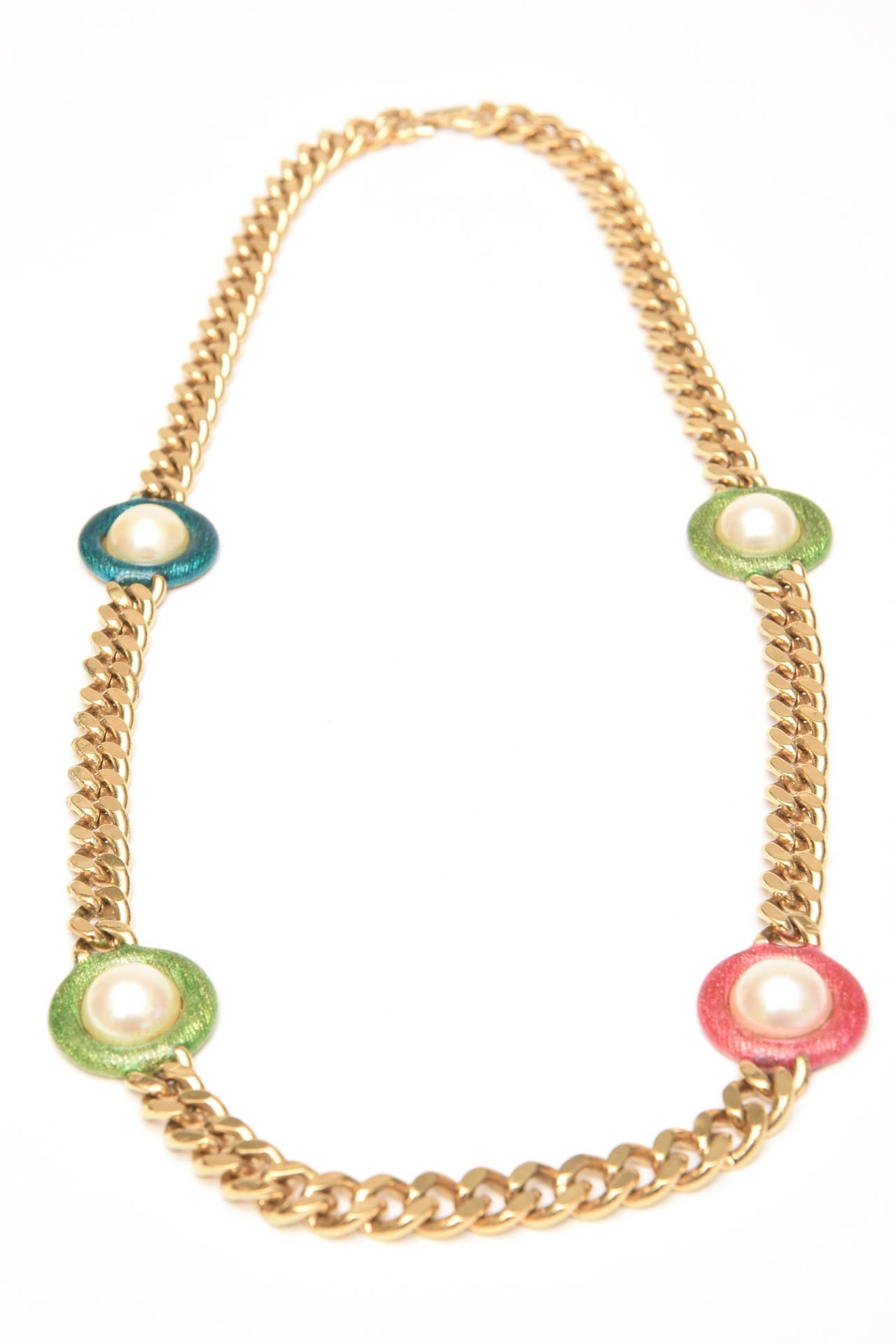 Women's Guy Laroche Gold,Tone Chain Link Strand Necklace with Enamel and Faux Pearl SALE For Sale