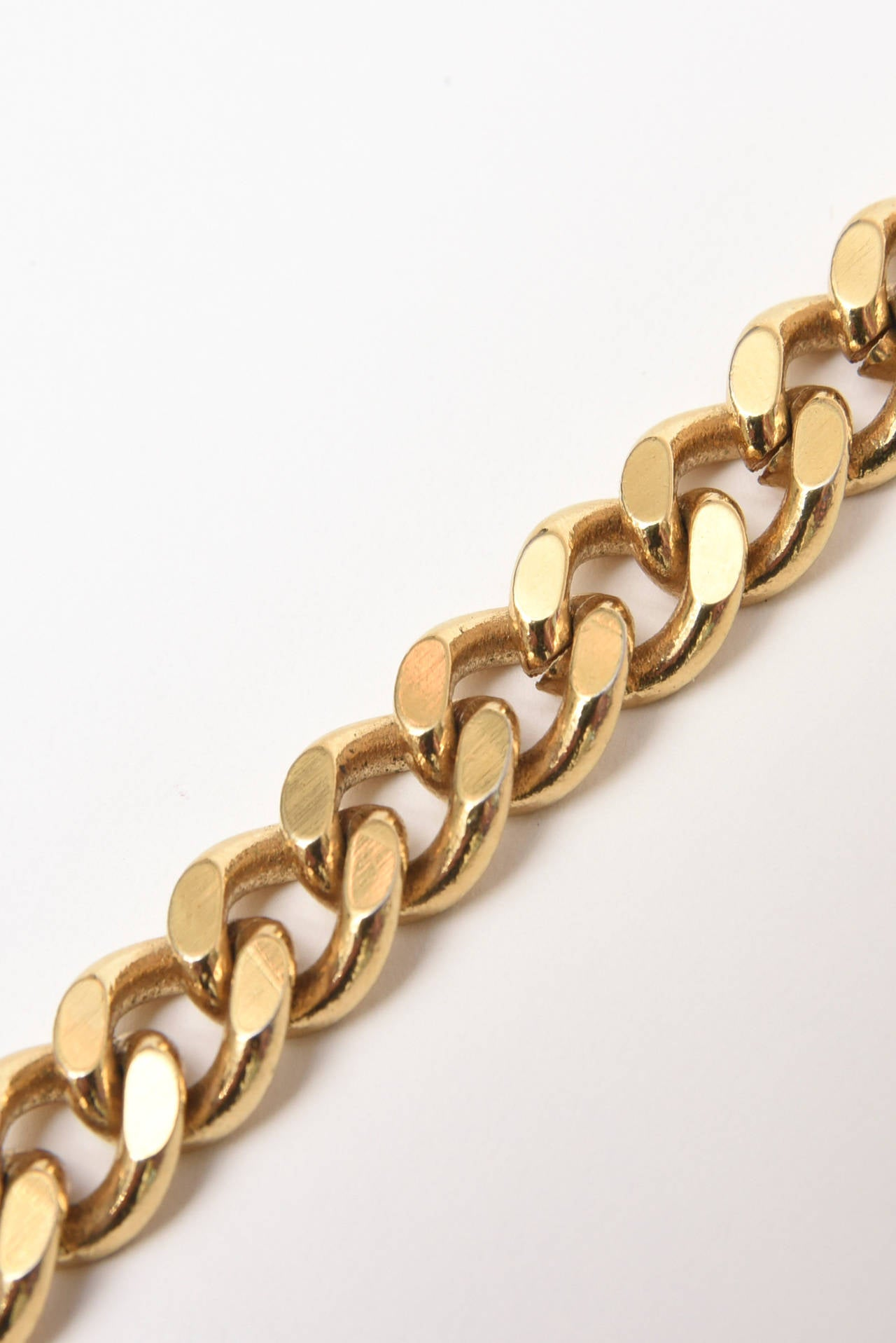 Guy Laroche Gold Tone Chain Link Strand Necklace with Enamel and Faux Pearl 6