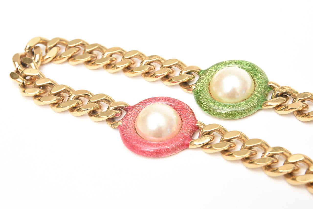 Guy Laroche Gold,Tone Chain Link Strand Necklace with Enamel and Faux Pearl SALE For Sale 3