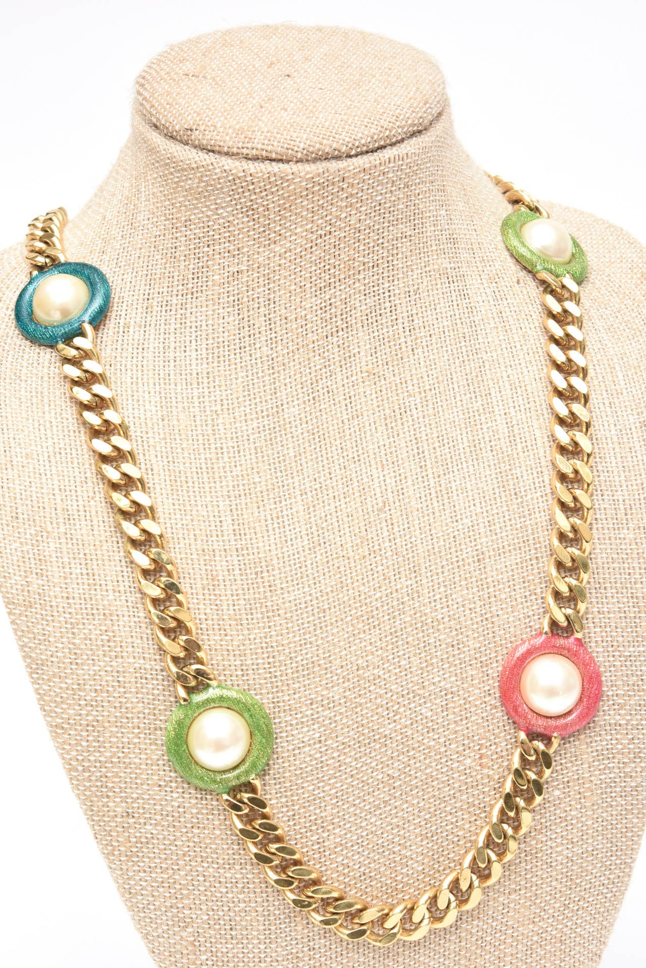 Guy Laroche Gold,Tone Chain Link Strand Necklace with Enamel and Faux Pearl SALE For Sale 4