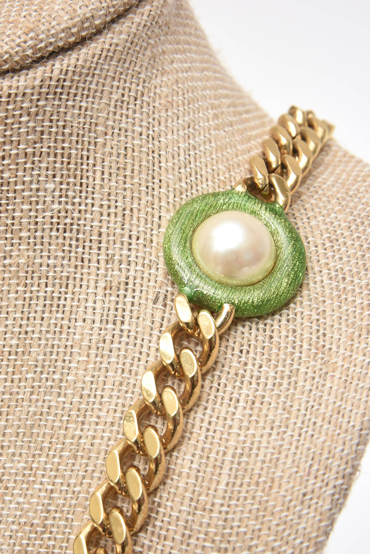 Guy Laroche Gold Tone Chain Link Strand Necklace with Enamel and Faux Pearl 10