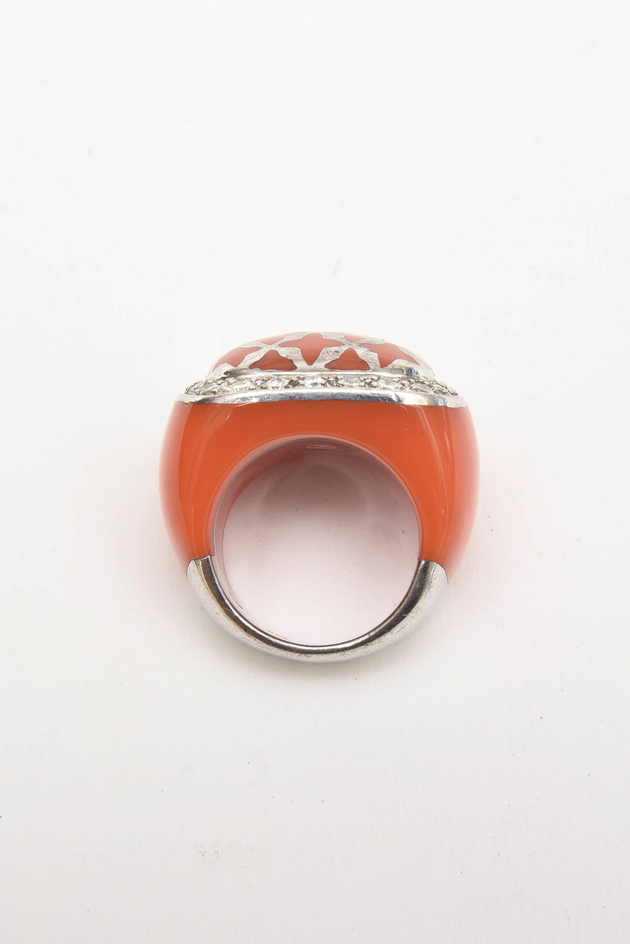 Modern  Angelique de Paris Sterling Silver, Rhinestone & Resin Dome Ring For Sale