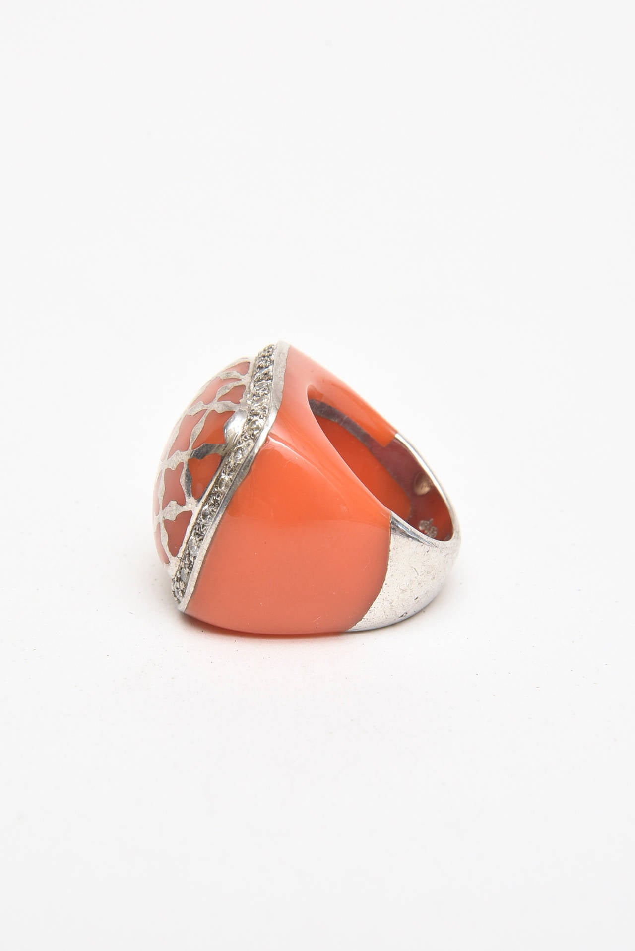 Angelique de Paris Sterling Silver, Rhinestone & Resin Dome Ring In Good Condition For Sale In North Miami, FL