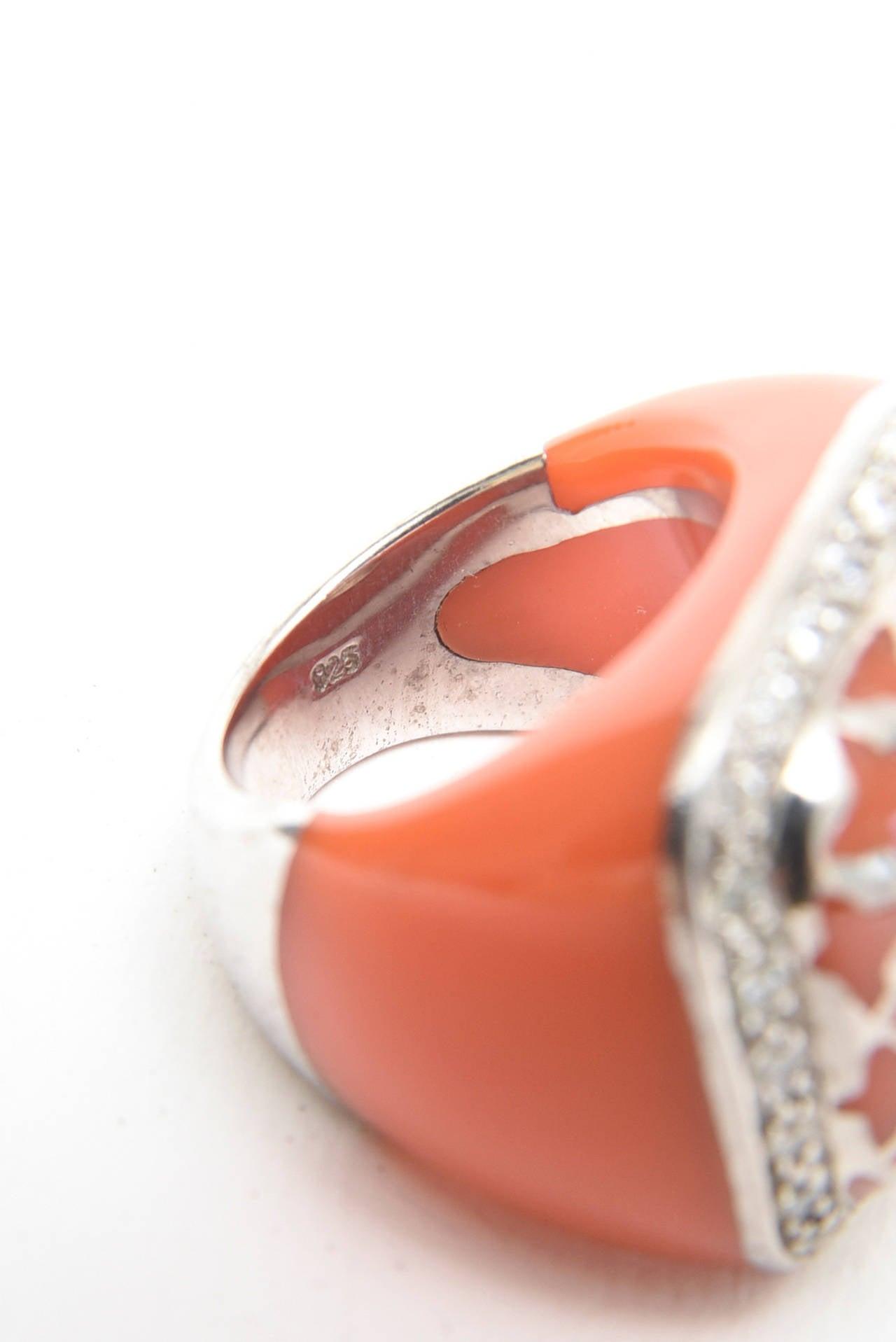Women's  Angelique de Paris Sterling Silver, Rhinestone & Resin Dome Ring For Sale