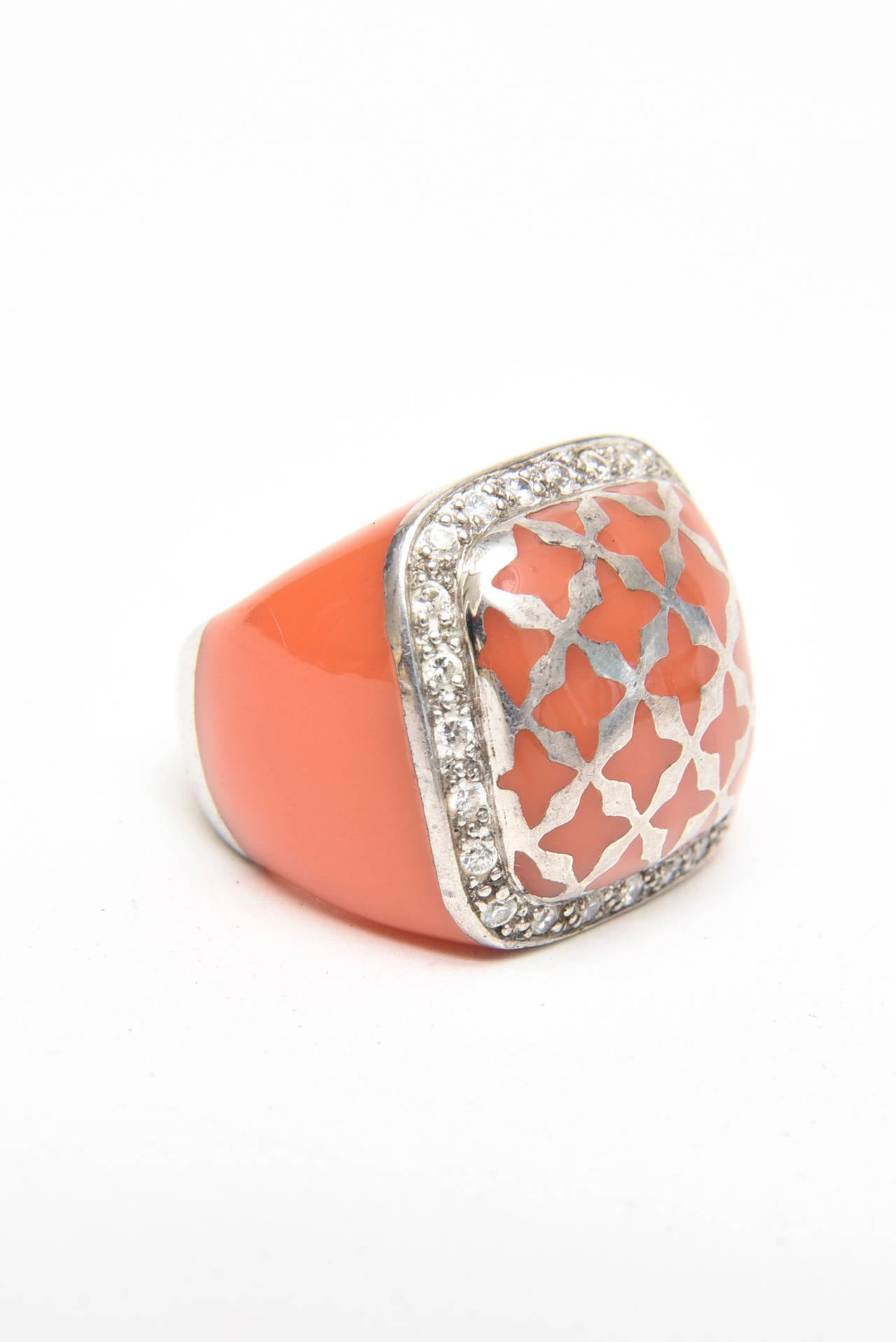 Angelique de Paris Sterling Silver, Rhinestone & Resin Dome Ring For Sale 2