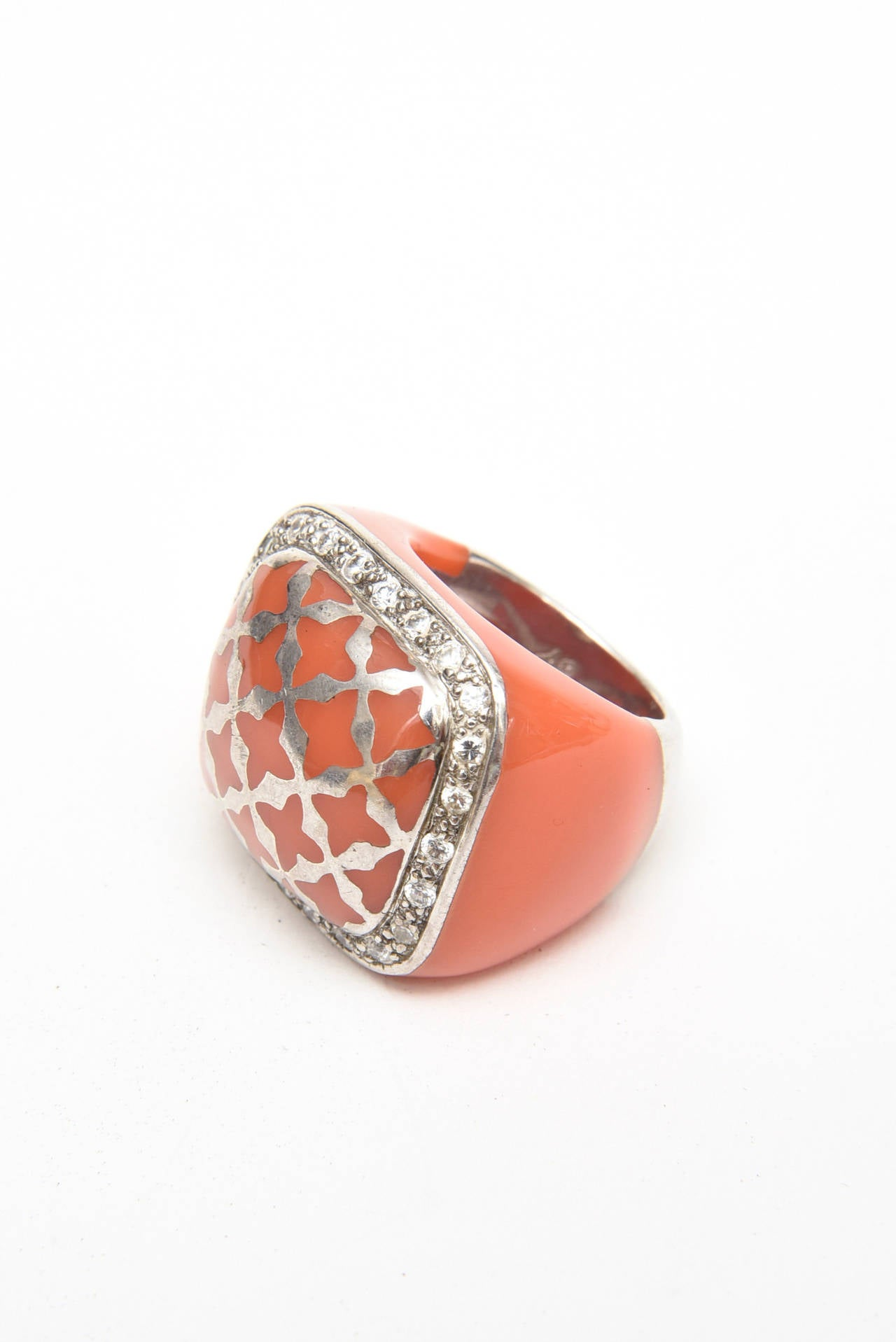 Angelique de Paris Sterling Silver, Rhinestone & Resin Dome Ring For Sale 3