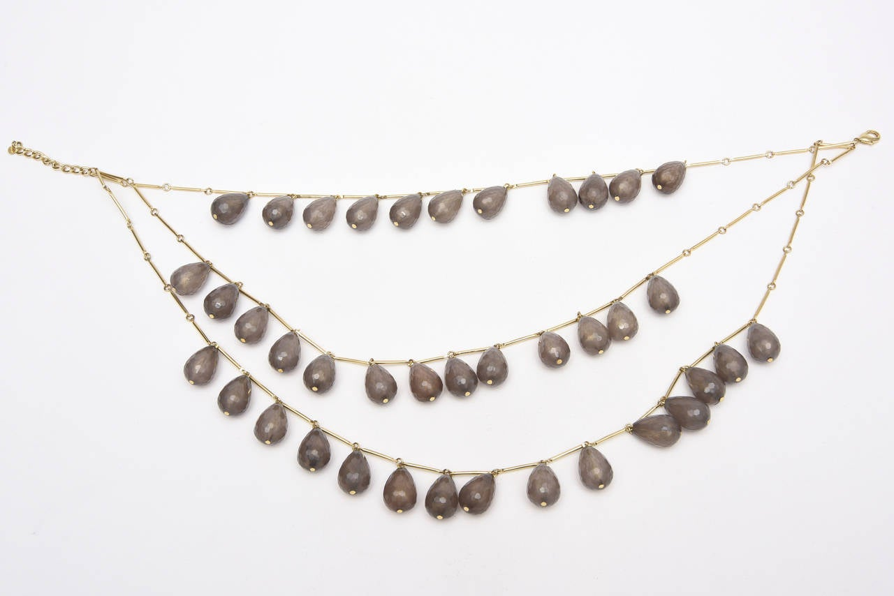 Three Stranded Resin Beaded Necklace / SAT. SALE In Excellent Condition For Sale In North Miami, FL