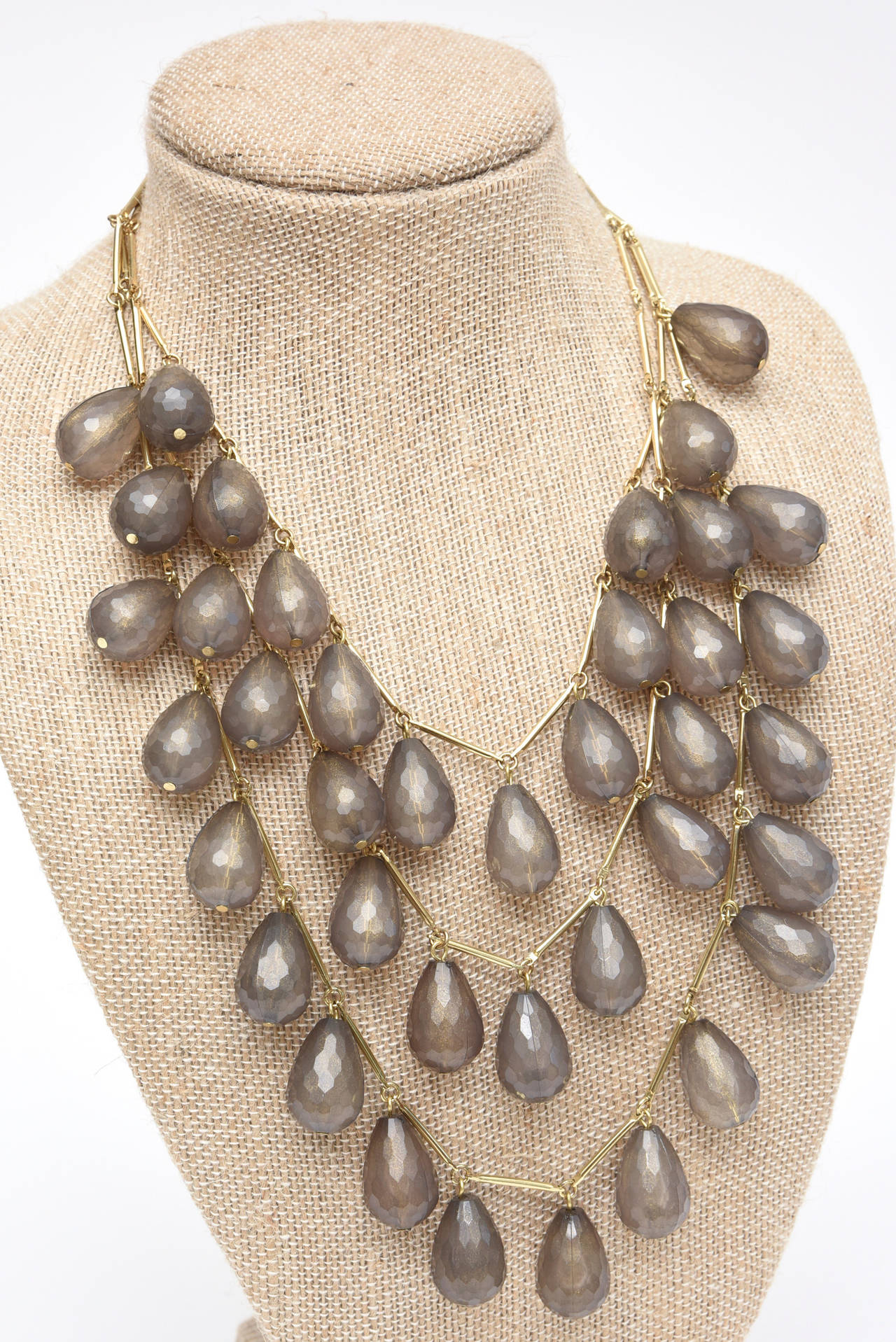 Women's Three Stranded Resin Beaded Necklace / SAT. SALE For Sale