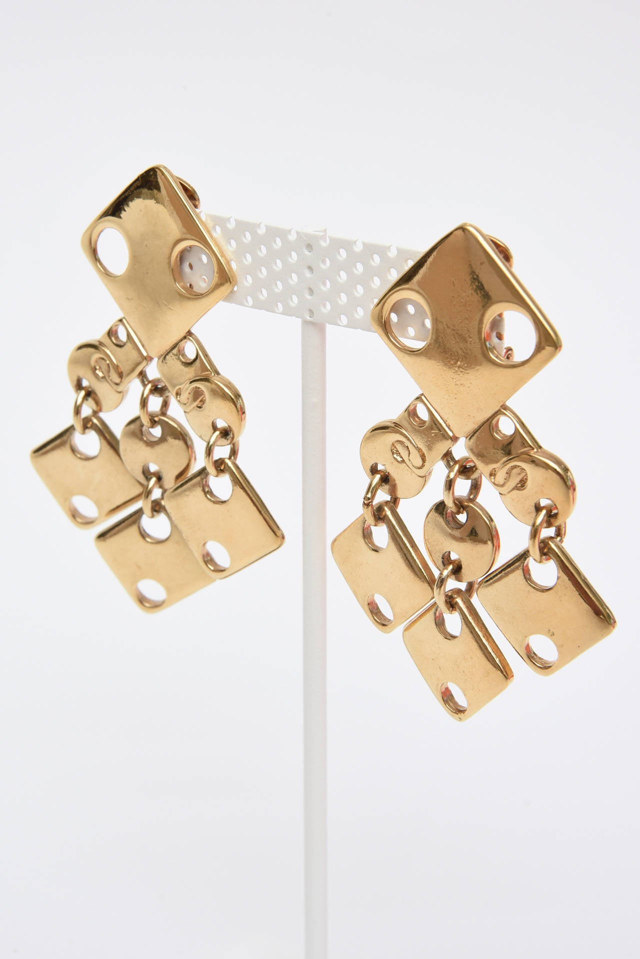 Paco Rabanne Geometric Gold Plated Modernist Brass Earrings 60's Signed In Good Condition For Sale In North Miami, FL