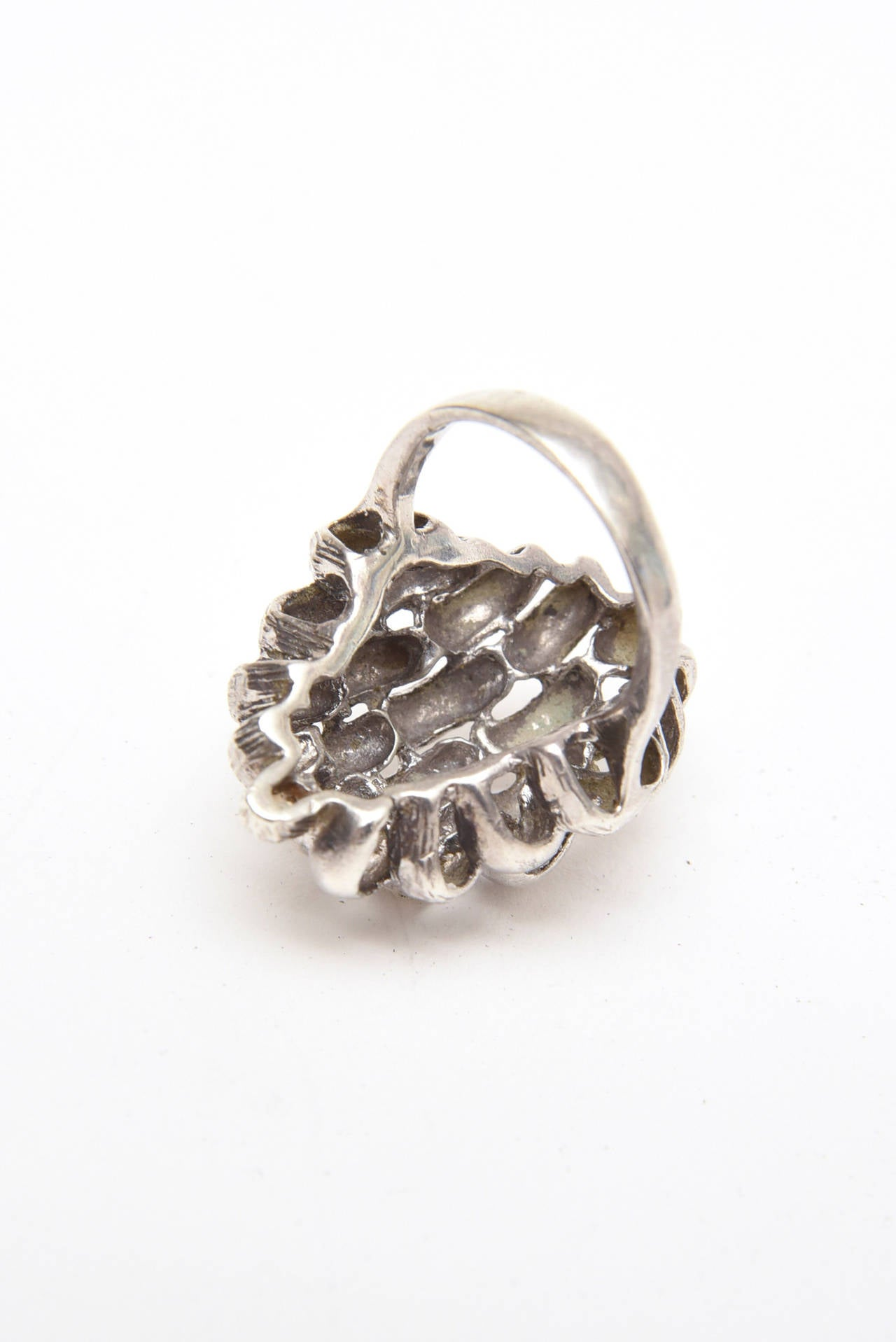 Sculptural Sterling Silver Ring In Excellent Condition For Sale In North Miami, FL