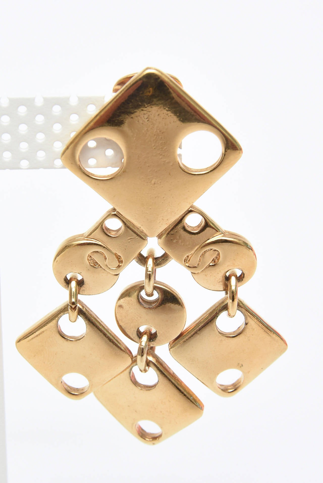 Women's Paco Rabanne Geometric Gold Plated Modernist Brass Earrings 60's Signed For Sale