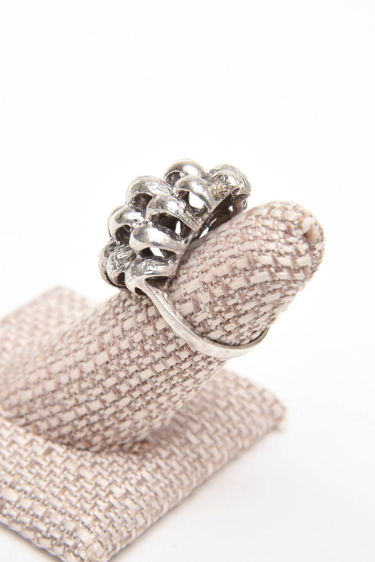 Women's Sculptural Sterling Silver Ring For Sale