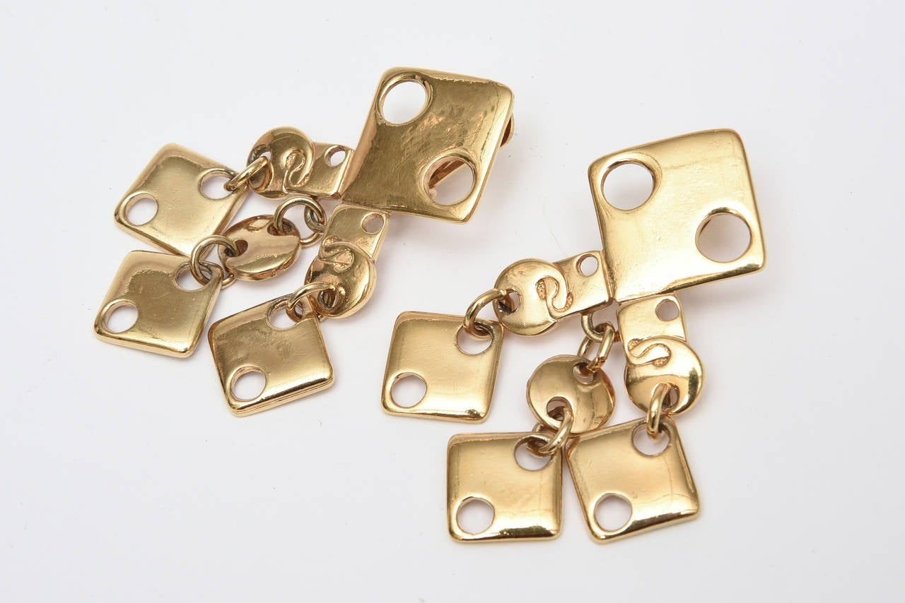 Paco Rabanne Signed Geometric Gold Plated Modernist Brass Earrings 60's For Sale 1
