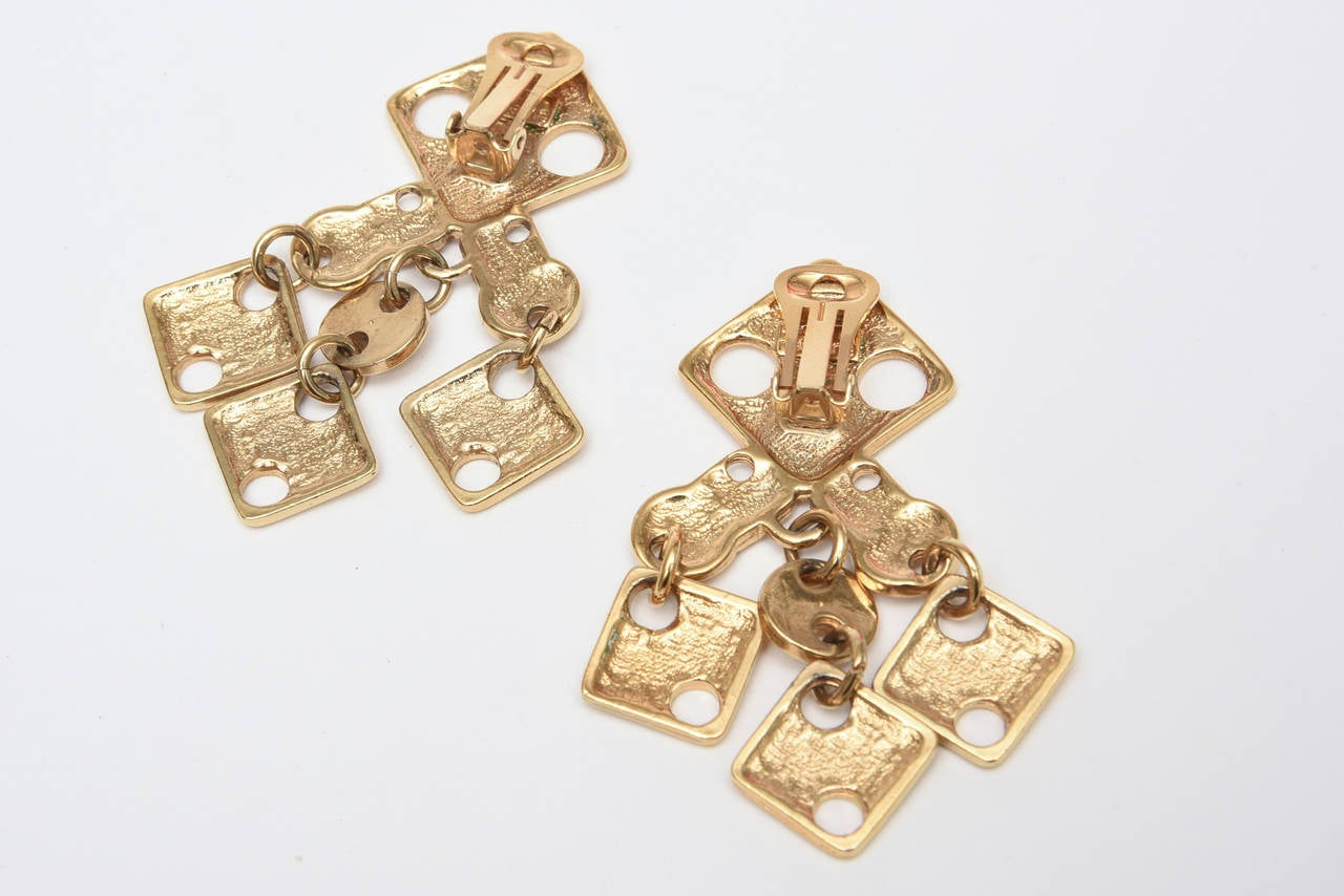 Paco Rabanne Geometric Gold Plated Modernist Brass Earrings 60's Signed For Sale 2
