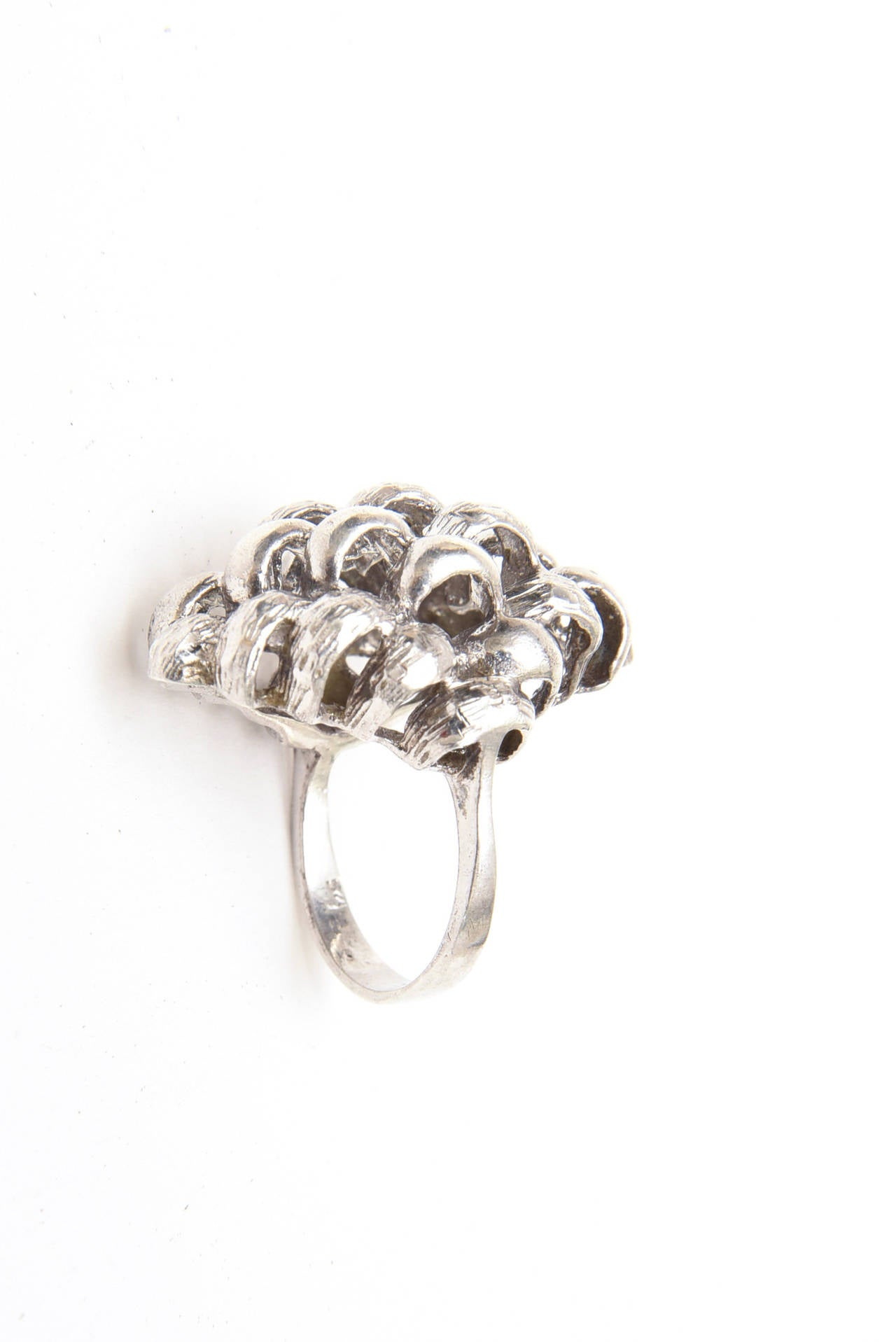 Sculptural Sterling Silver Ring For Sale 3