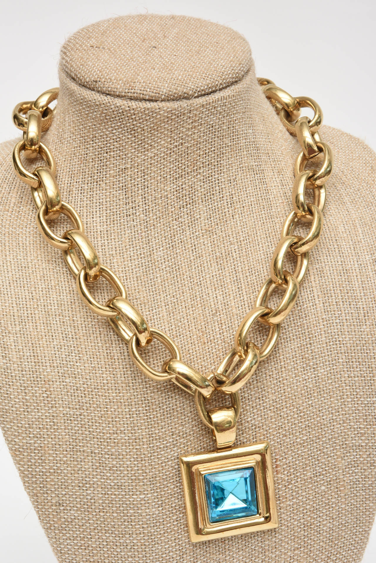 Givenchy Turquoise Chain and Glass Medallion Link Necklace Vintage For Sale 1