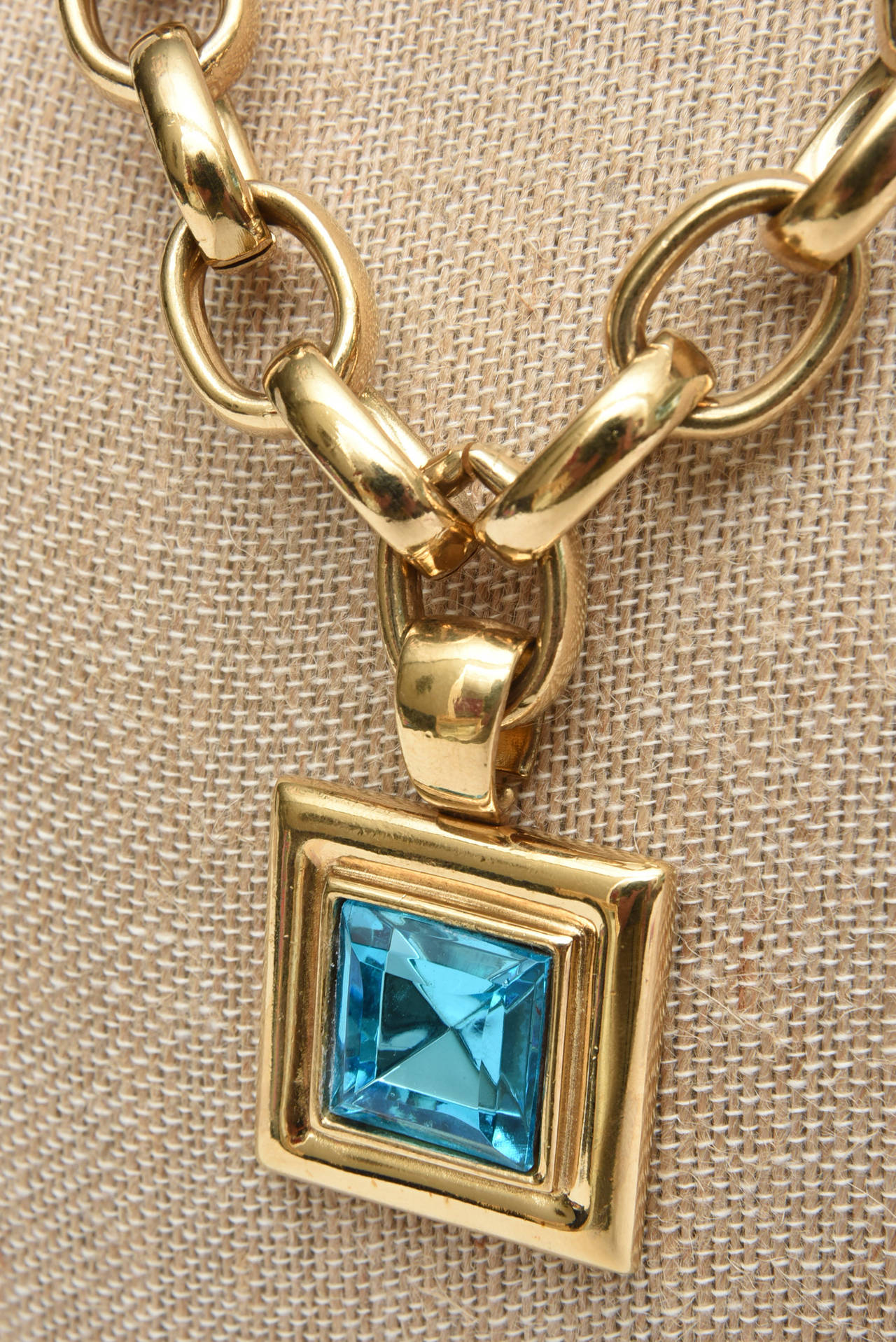 Givenchy Turquoise Chain and Glass Medallion Link Necklace Vintage For Sale 2