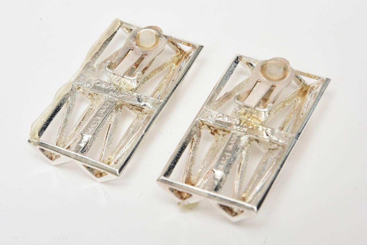 Modernist  Claude Montana Silver Plate Geometric Runway Earrings  Vintage For Sale