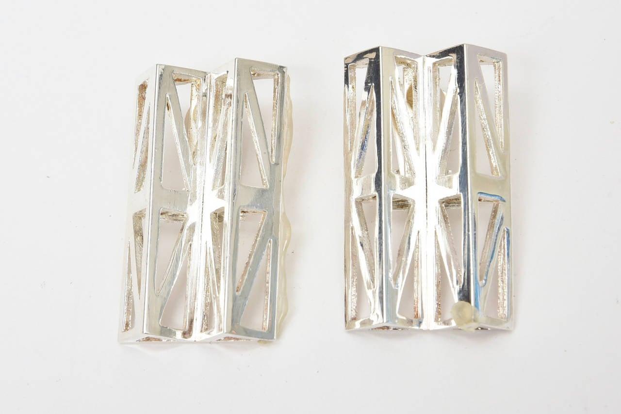 Claude Montana Silver Plate Geometric Runway Earrings  Vintage For Sale 1