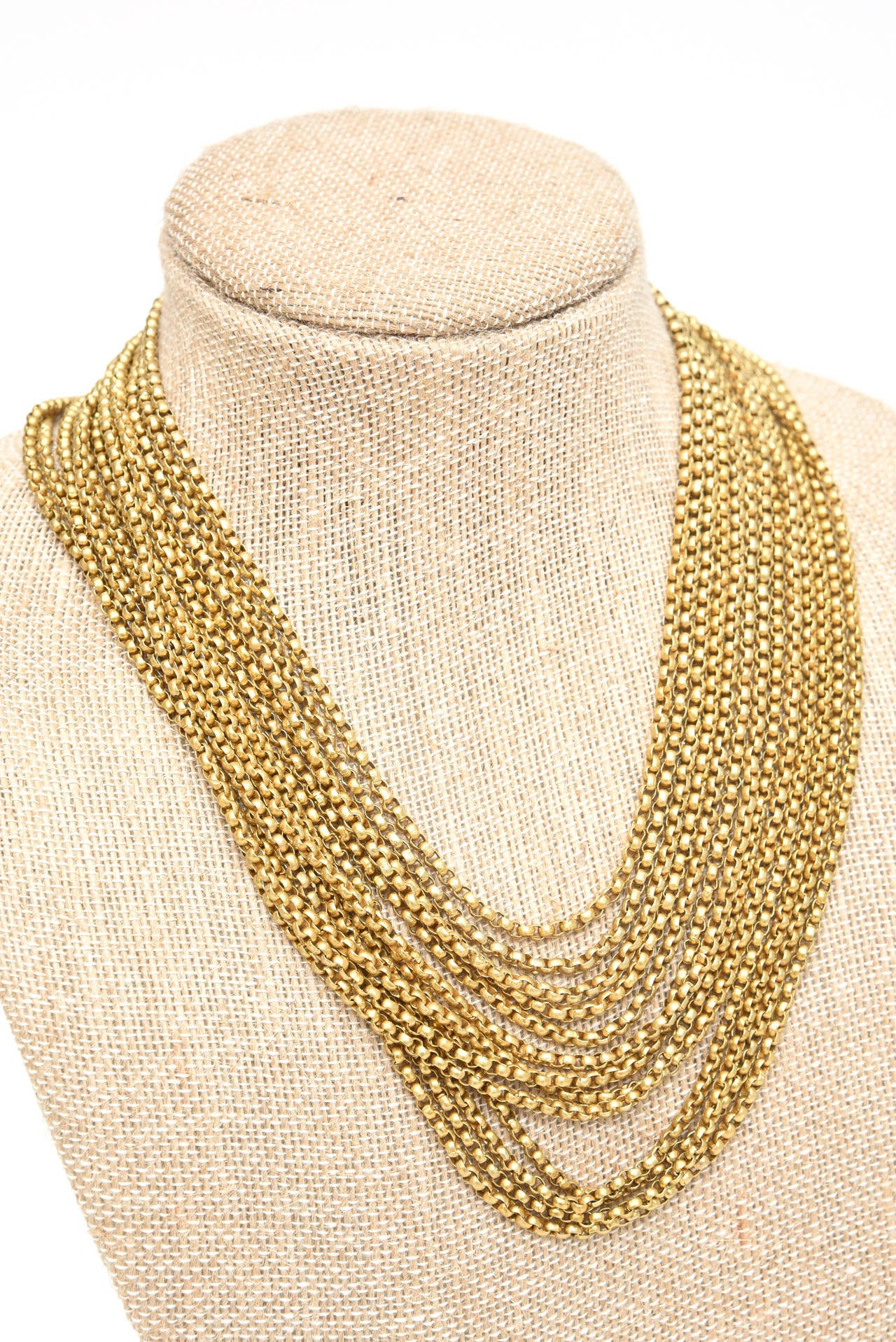 Gold Wash over Sterling Silver  Link Beaded Strand Necklace with Egyptian Clasp 4