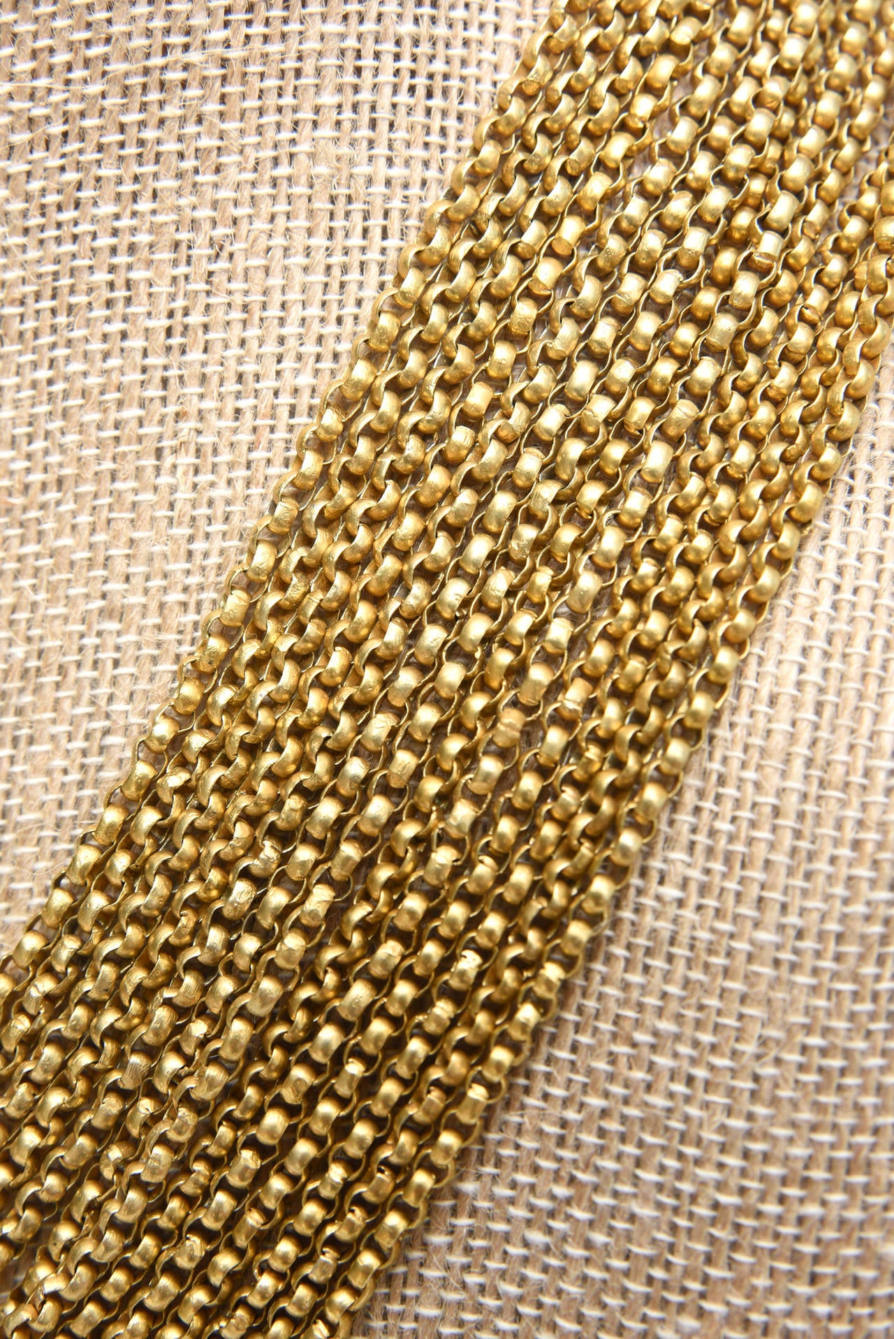 Gold Wash over Sterling Silver  Link Beaded Strand Necklace with Egyptian Clasp 5