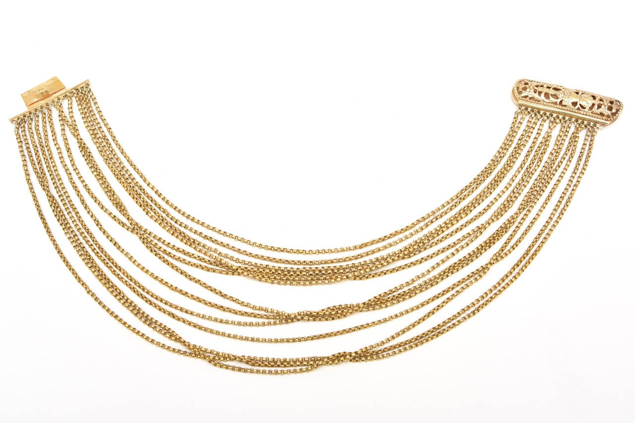Gold Wash over Sterling Silver  Link Beaded Strand Necklace with Egyptian Clasp 6