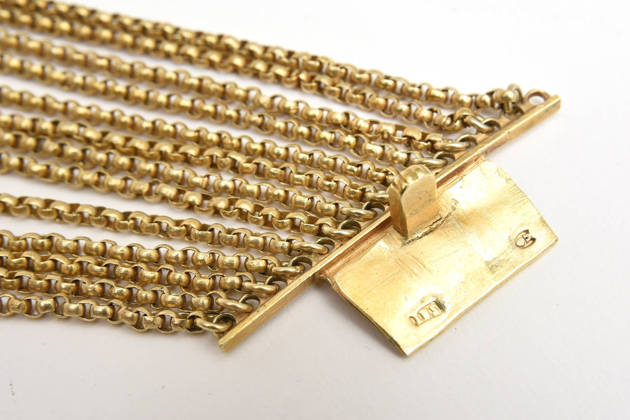 Gold Wash over Sterling Silver  Link Beaded Strand Necklace with Egyptian Clasp 8