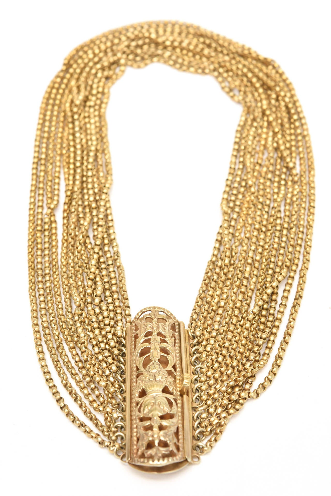 Gold Wash over Sterling Silver  Link Beaded Strand Necklace with Egyptian Clasp 9