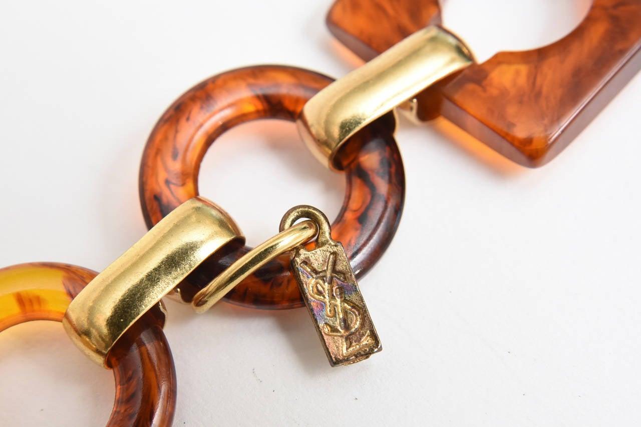 Women's Hallmarked Yves Saint Laurent Vintage Tortoise Resin and Brass Waist/ Hip Belt For Sale