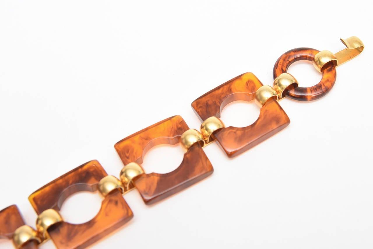 Hallmarked Yves Saint Laurent Vintage Tortoise Resin and Brass Waist/ Hip Belt For Sale 2
