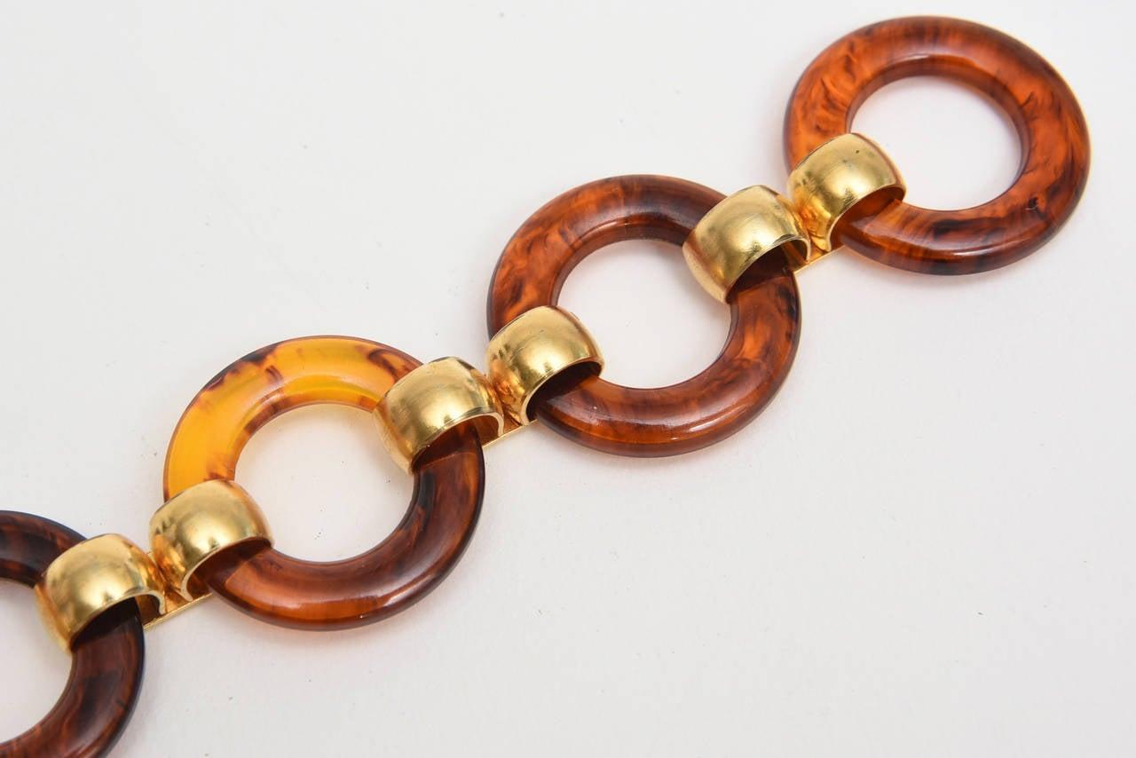 Hallmarked Yves Saint Laurent Vintage Tortoise Resin and Brass Waist/ Hip Belt For Sale 3