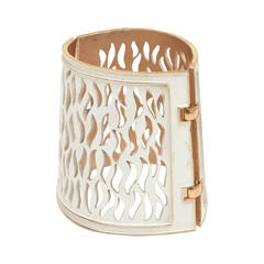 Trifari Enamel and Gold Metal Cutout Wide Sculptural Dramatic Cuff