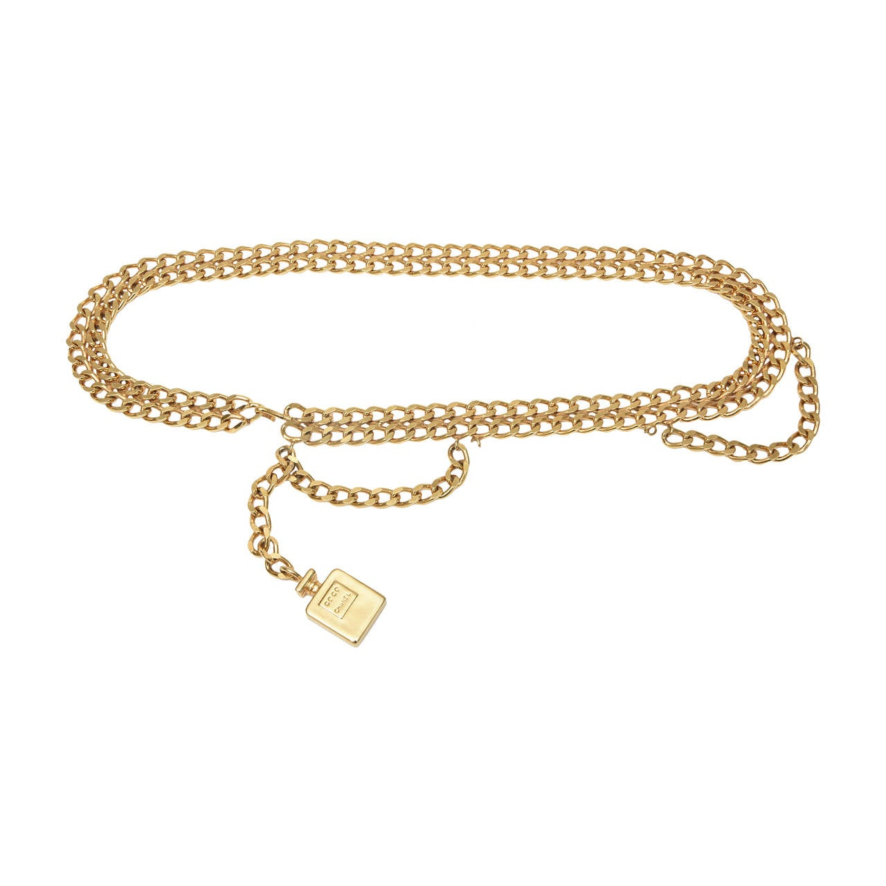 "Chanel Gold Plated Chain Link ""Coco Chanel"" Perfume Dangler Belt 1"