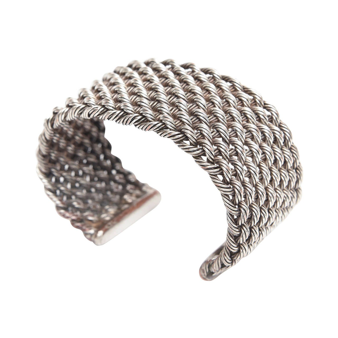 Criss Cross Braided Sterling Silver Cuff Bracelet For