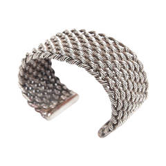 Criss Cross Braided Sterling Silver Cuff Bracelet