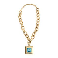 Givenchy Chain Necklace with Turquoise Glass Medallion