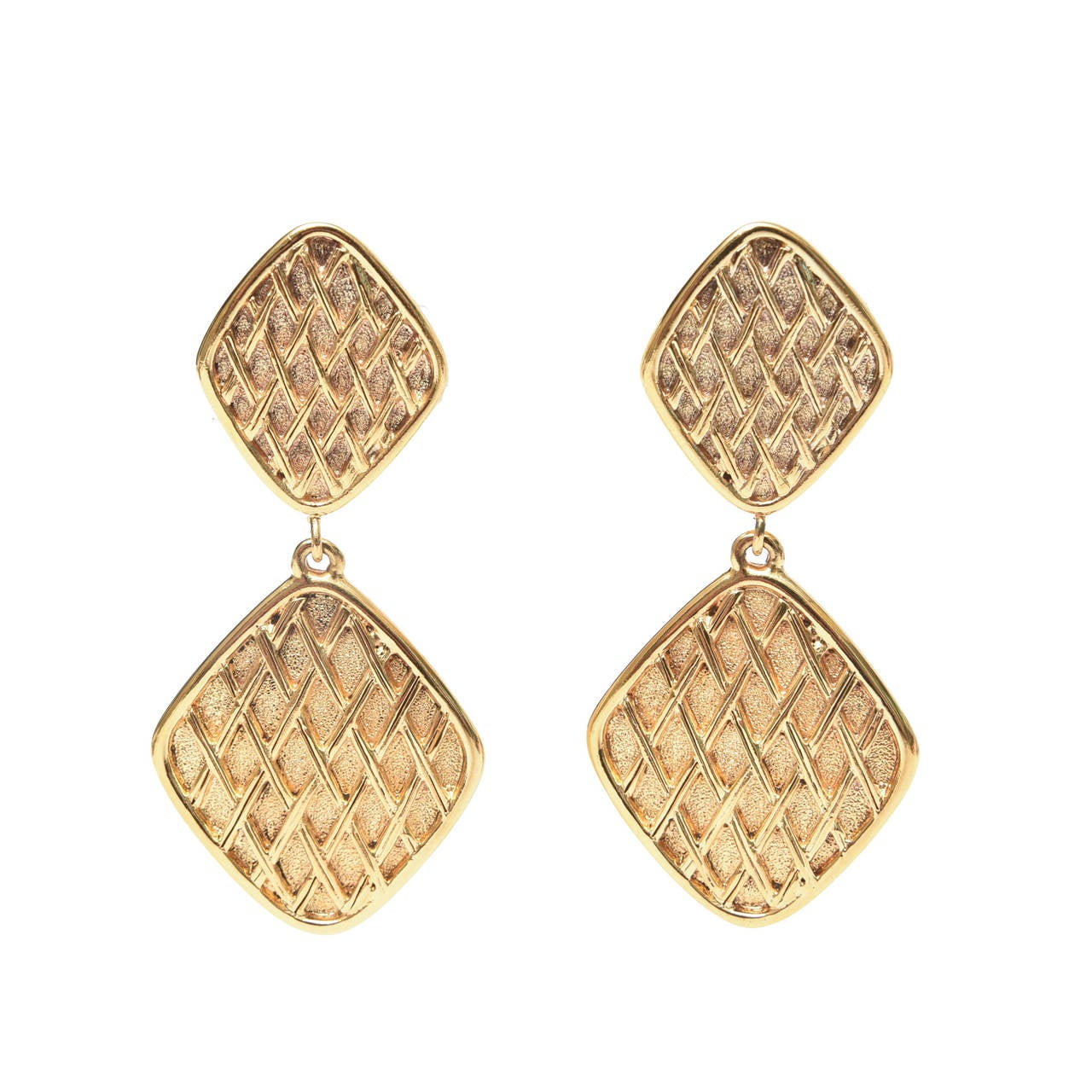 Chanel Pair of Marked Double Criss Cross Hanging Clip On Earrings For Sale