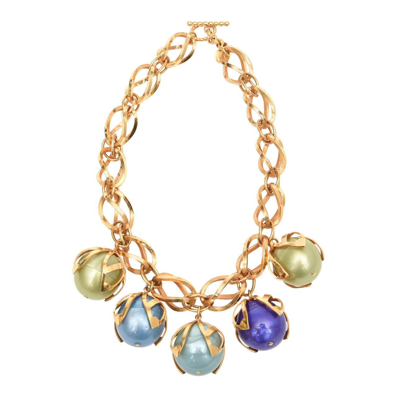 Dominique Aurientis 4 Ball French Gold Link and Resin Ball Necklace  For Sale