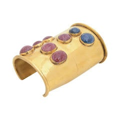 Signed Mary McFadden Handcrafted Wide Cuff with Stones