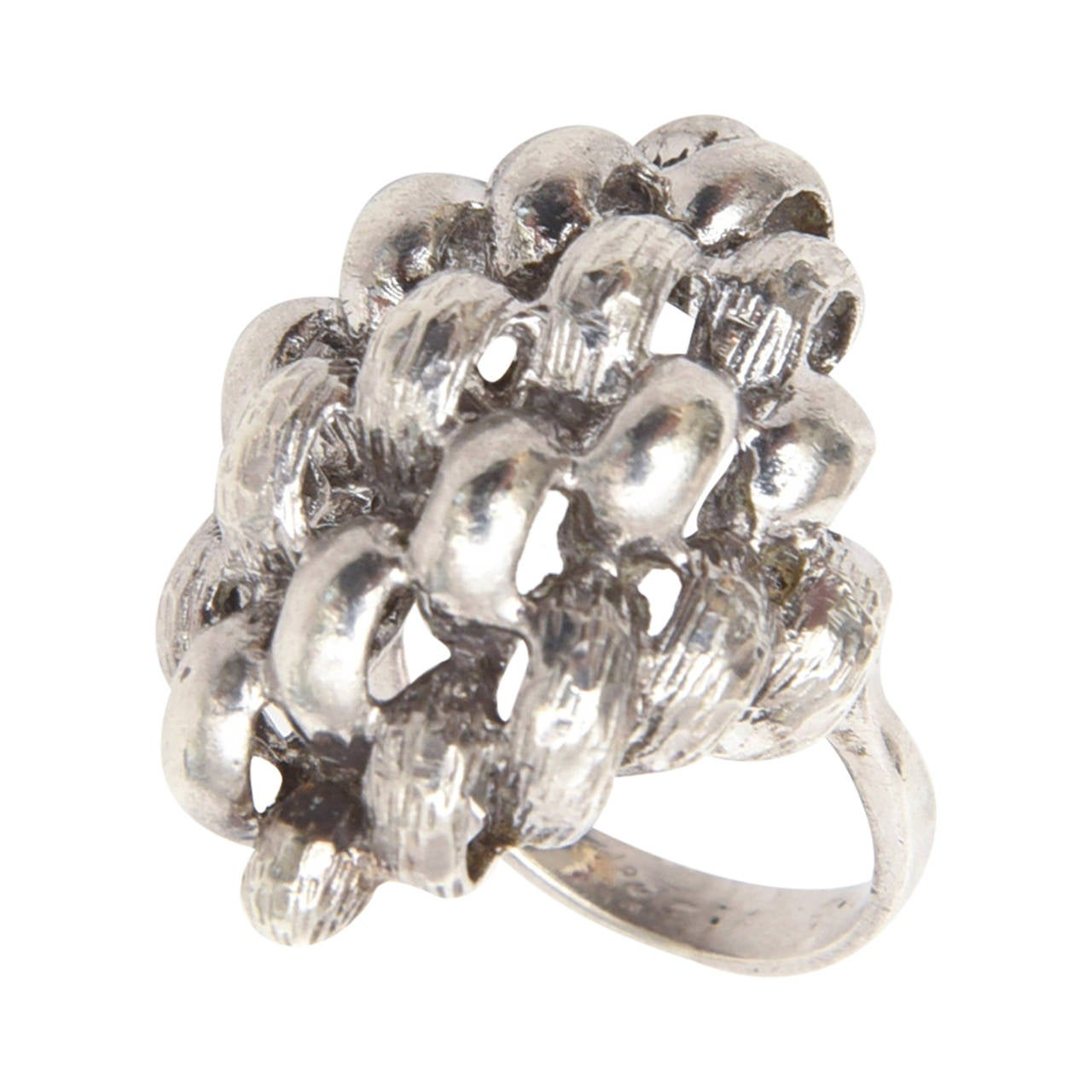 Sculptural Sterling Silver Ring For Sale