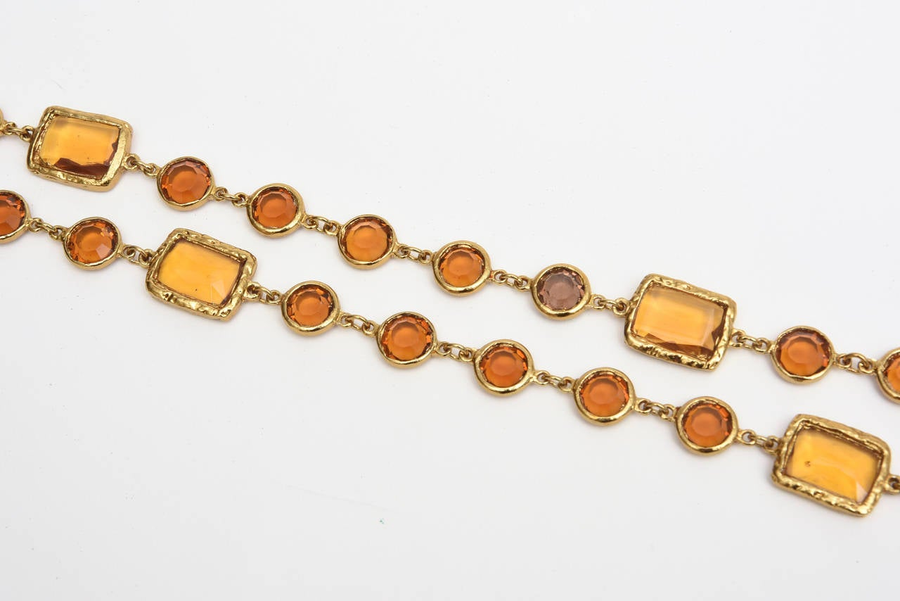 Modernist Chanel Chicklet Amber Glass and Brass Necklace For Sale