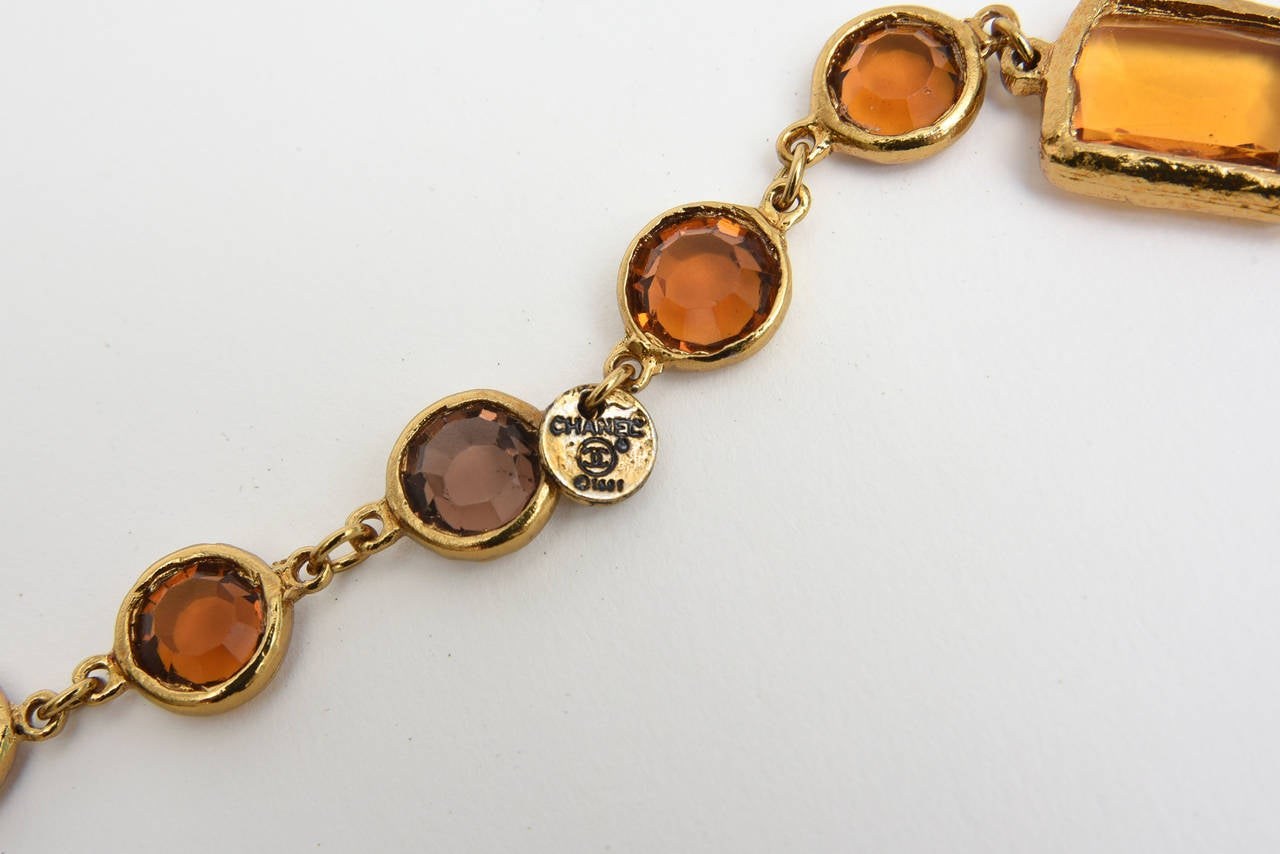 Chanel Chicklet Amber Glass and Brass Necklace In Excellent Condition For Sale In North Miami, FL
