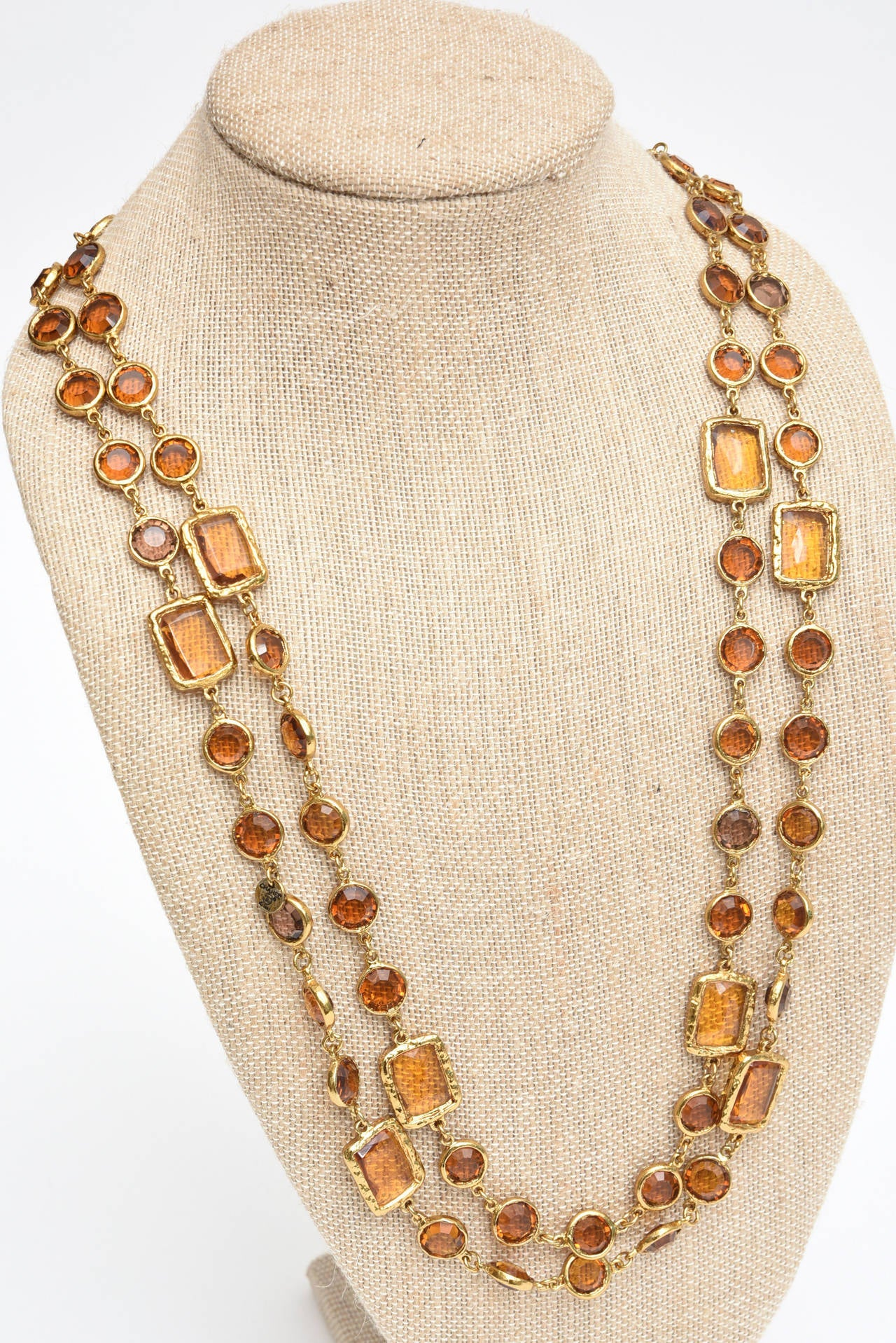Chanel Chicklet Amber Glass and Brass Necklace 5