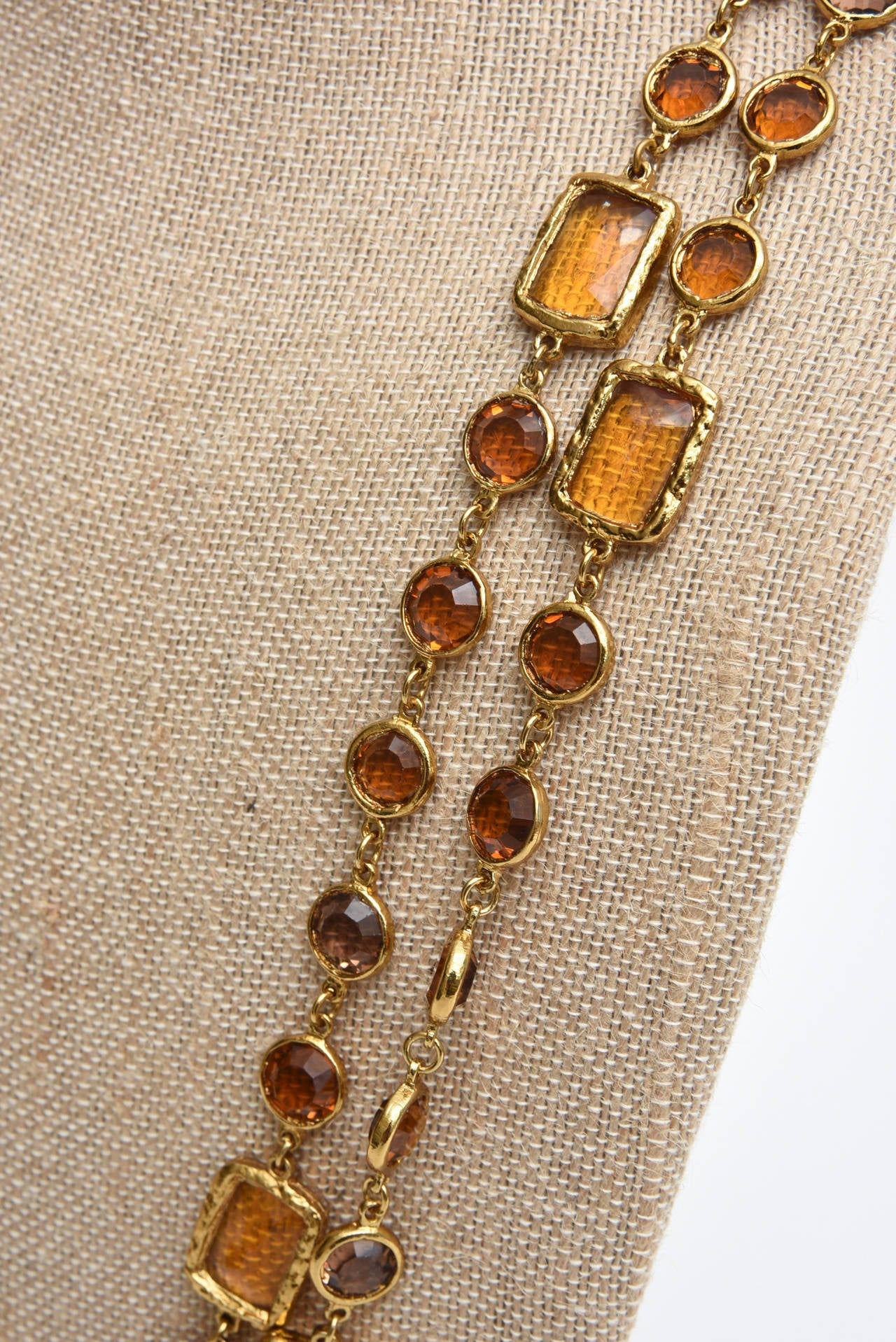 Chanel Chicklet Amber Glass and Brass Necklace For Sale 1