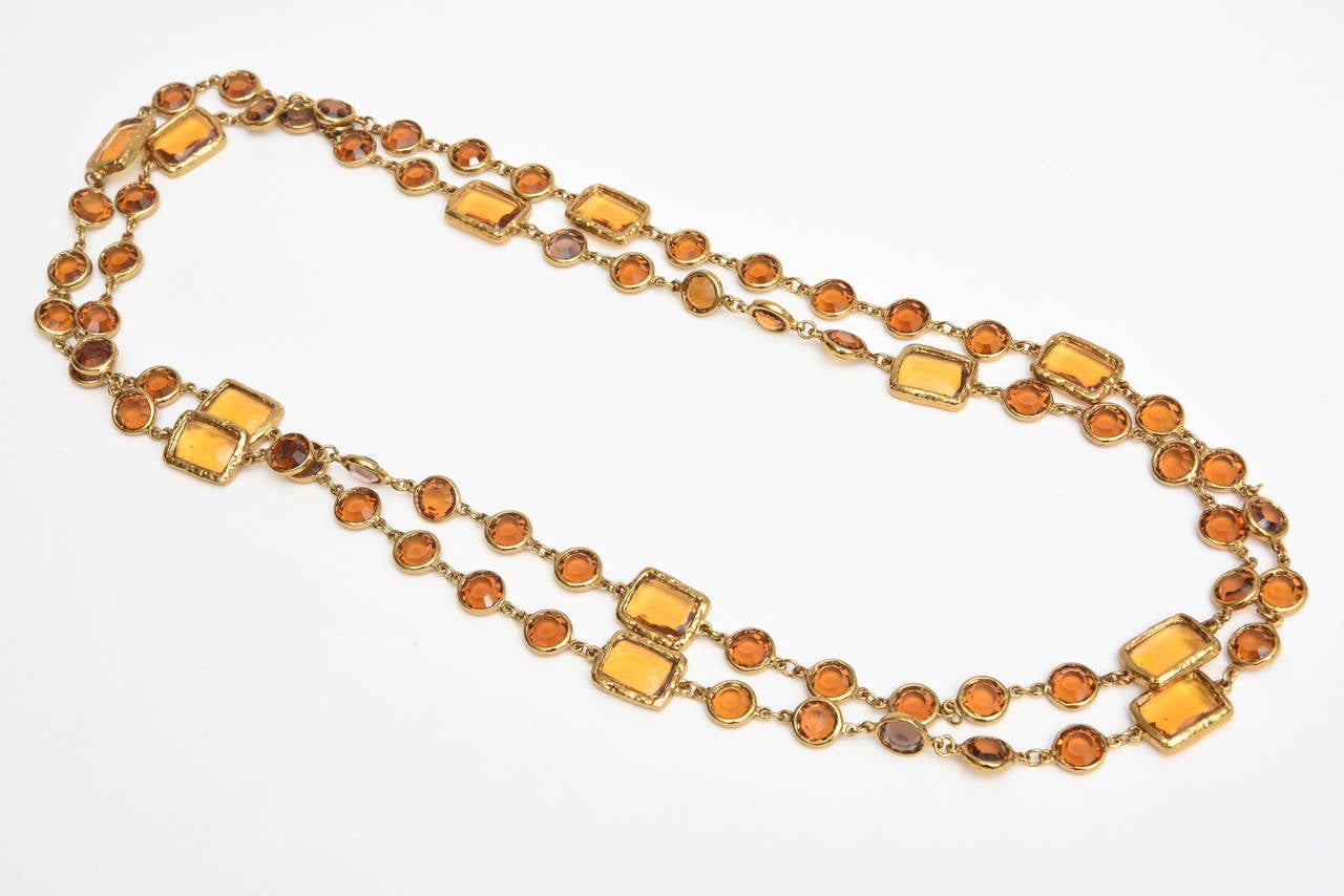 Chanel Chicklet Amber Glass and Brass Necklace For Sale 2
