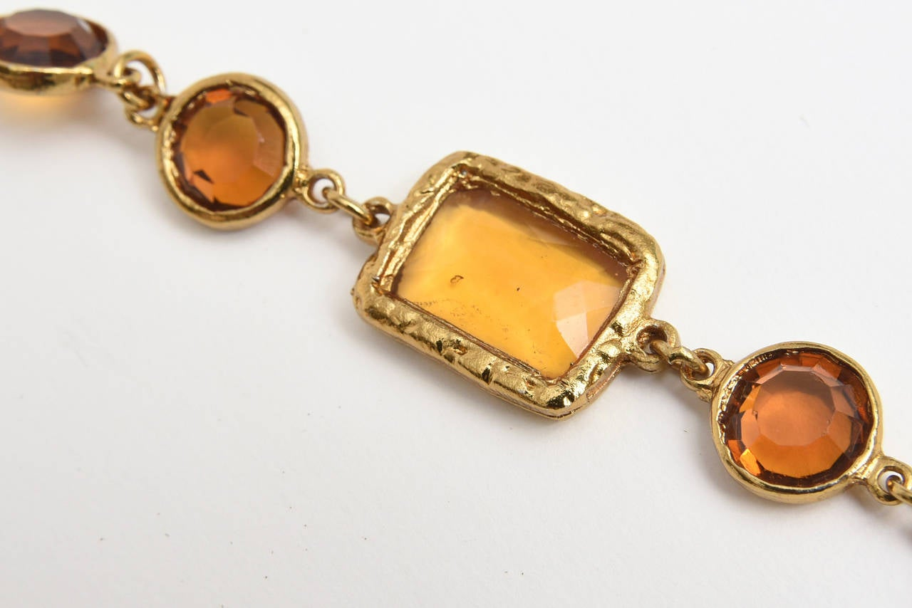 Chanel Chicklet Amber Glass and Brass Necklace For Sale 3