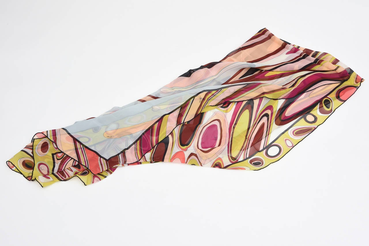 Pucci Silk Oblong Scarf Vintage In Good Condition For Sale In North Miami, FL